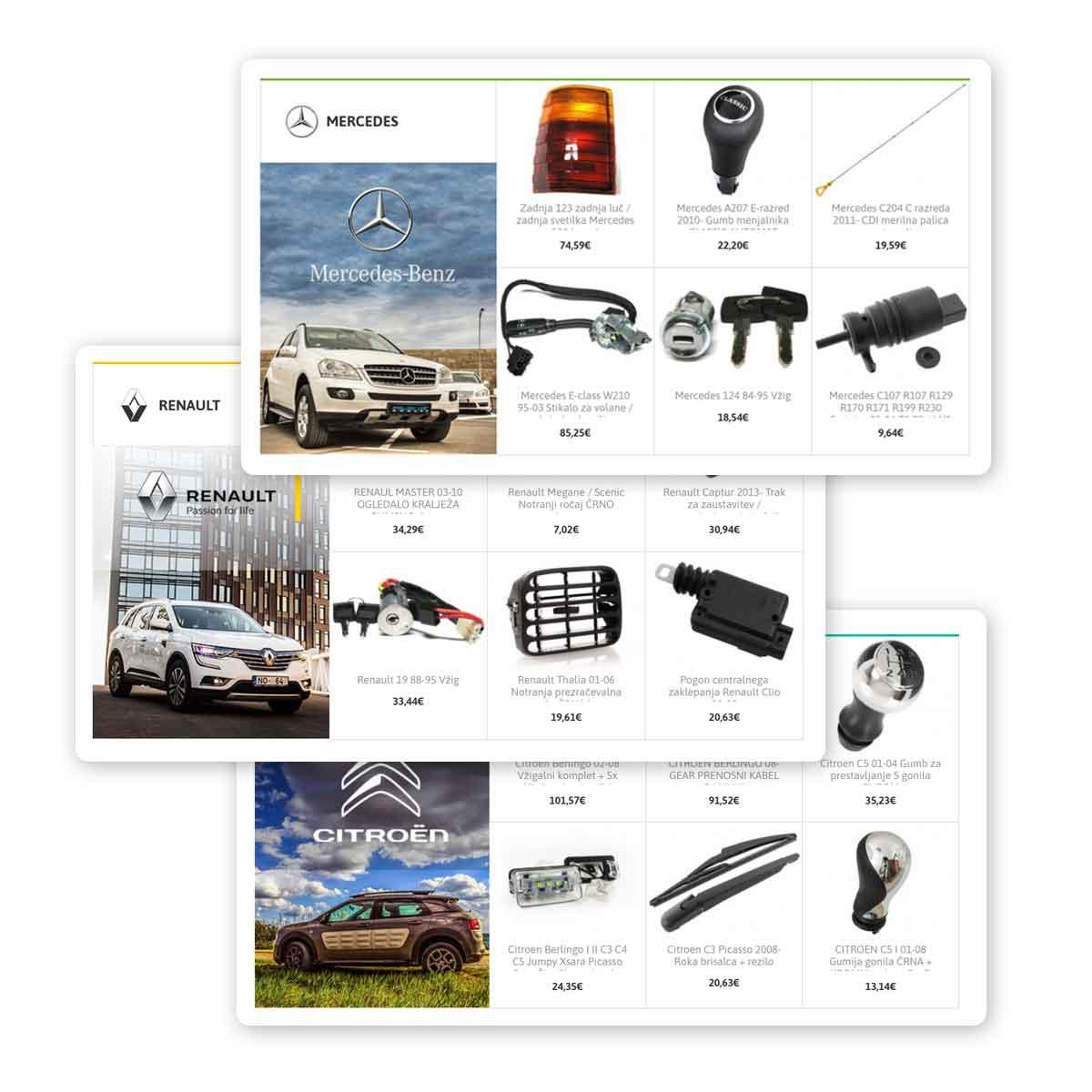 Rezervni avtodeli - skupine izdelkov - spletna trgovina